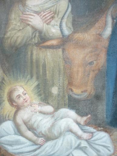Avant dégagement de repeint : Dans ce tableau du XVIIe siècle, l'enfant Jésus a été recouvert au XIXe par un repeint de pudeur.