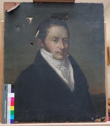 Portrait d'homme vers 1810 - Reprises de déchirures - Avant