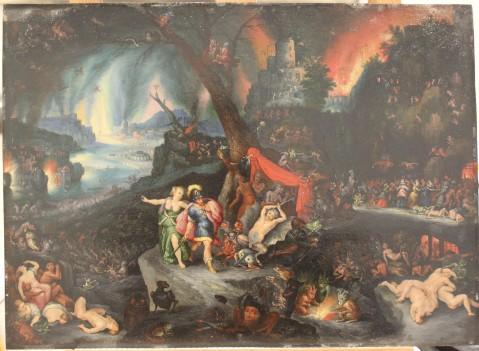 Enée et la Sybille aux enfers D'après Brueghel vers 1630 Huile sur cuivre, 36,5 x 26,5 cm (Coll. particulière) Vue générale avant reprise de restauration